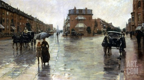 Hassam: Rainy Boston, 1885 Stretched Canvas Print