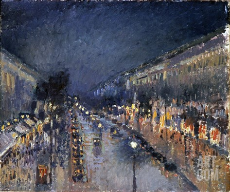 Pissarro: Paris at Night Stretched Canvas Print