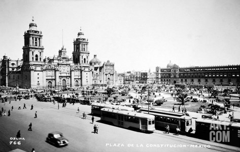 Mexico City: Zocalo, c1930 Stretched Canvas Print