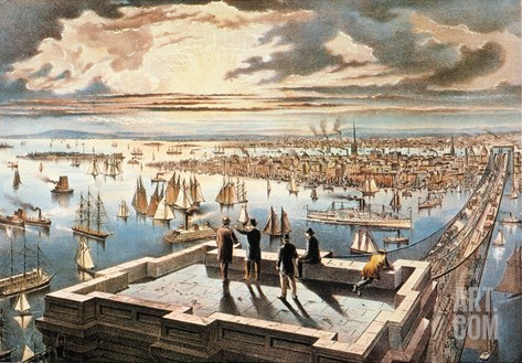 New York Harbor, c1882 Stretched Canvas Print