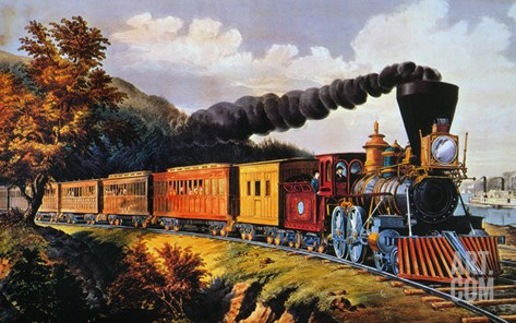 American Express Train Stretched Canvas Print