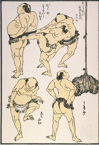 Sumo Wrestlers, 1817 Stretched Canvas Print