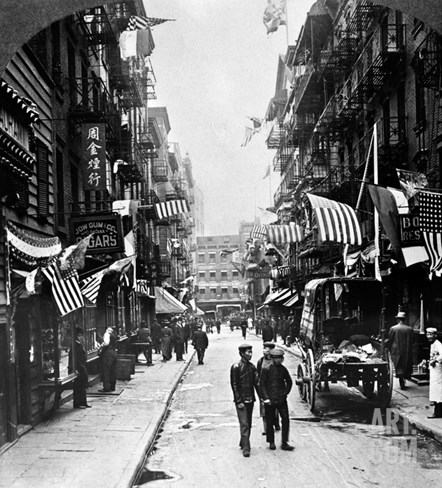 New York : Chinatown, 1909 Stretched Canvas Print
