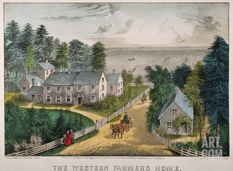 Currier and Ives: Farm House Stretched Canvas Print