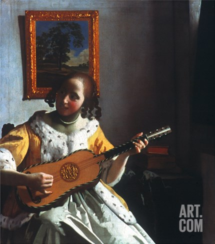 Vermeer: Guitar Player Stretched Canvas Print