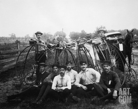Bicyle Riders, c1880s Stretched Canvas Print