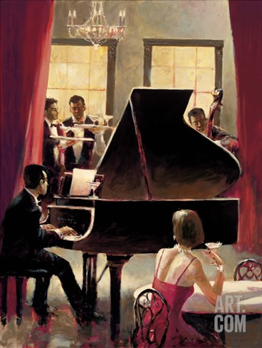 Piano Jazz Stretched Canvas Print