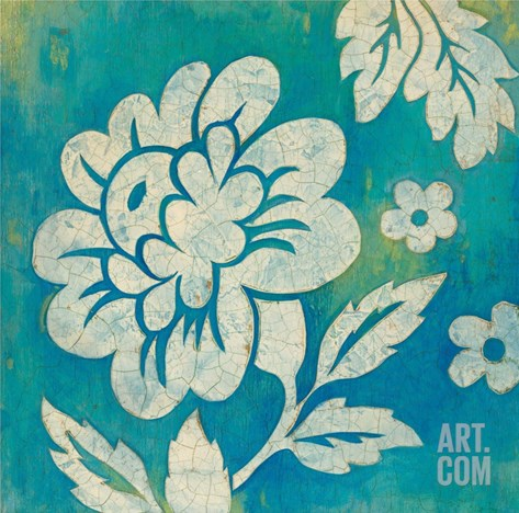 Blue Floral Stretched Canvas Print