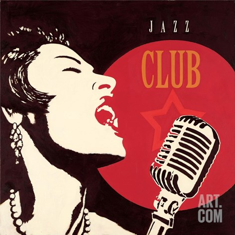 Jazz Club Stretched Canvas Print