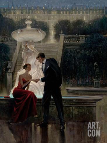Twilight Romance Stretched Canvas Print