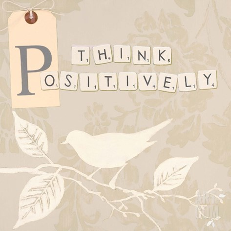 Think Positively Stretched Canvas Print
