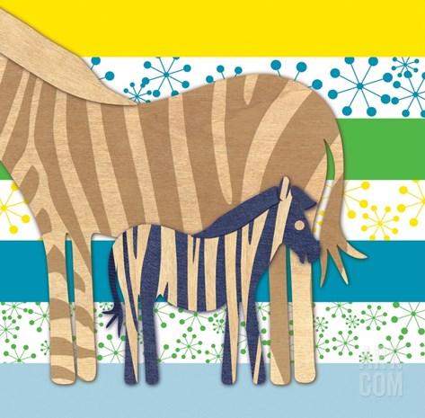 Zebra Family Stretched Canvas Print