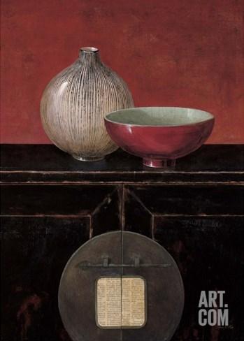 Asian Armoire - Noir Stretched Canvas Print