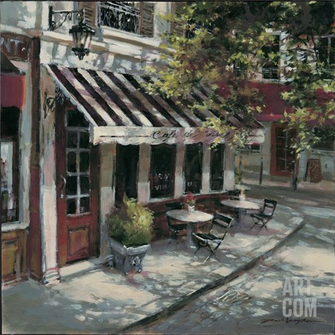 Wine Cafe Stretched Canvas Print