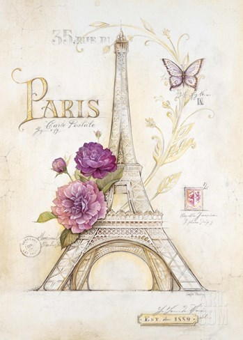 Eiffel Tower Roses Stretched Canvas Print