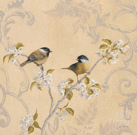 Chickadee and Pear Stretched Canvas Print