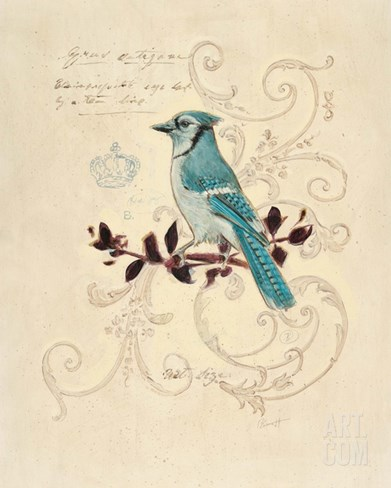 Filigree Jay Stretched Canvas Print