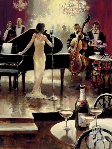 Jazz Night Out Stretched Canvas Print