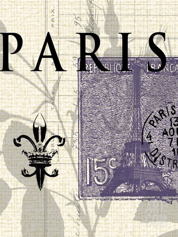 Paris Stamp Stretched Canvas Print