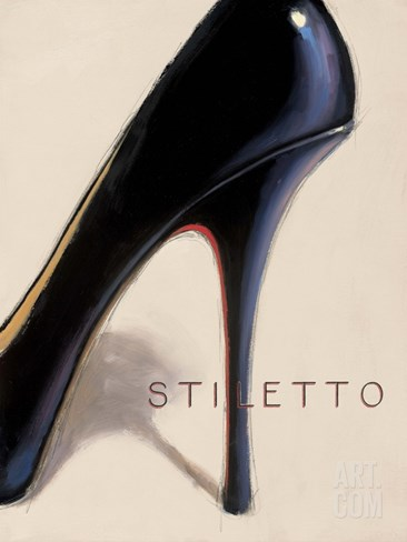 Black Stiletto Stretched Canvas Print