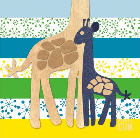 Giraffe Family Stretched Canvas Print