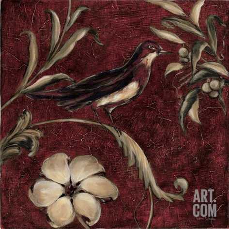 Crimson Song Bird No.4 Stretched Canvas Print