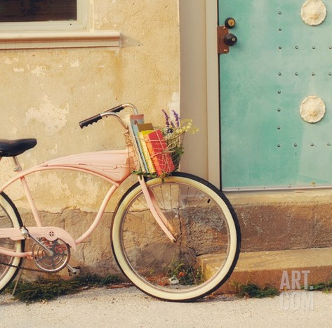 Vintage Pink Bike Stretched Canvas Print