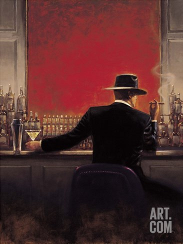Cigar Bar Stretched Canvas Print