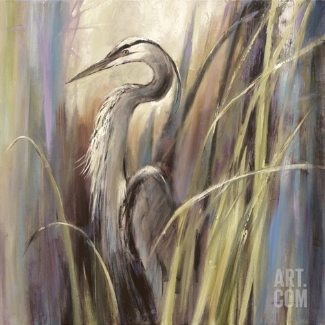 Coastal Heron Stretched Canvas Print