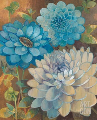 Pretty Blue Dahlias 1 Stretched Canvas Print