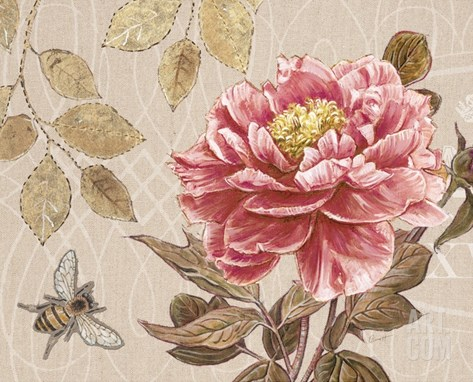 Bumble Bee and Peony Stretched Canvas Print