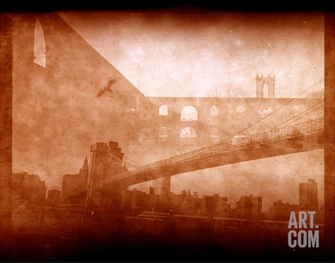 Vintage Bridge 2x Stretched Canvas Print