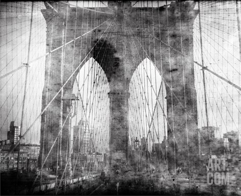 Brooklyn Bridge in Verichrome Stretched Canvas Print