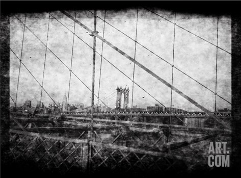 Through Roebling's Grid Stretched Canvas Print