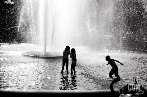 Fountain Play Stretched Canvas Print