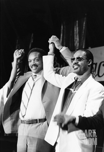 Jesse Jackson and Stevie Wonder Stretched Canvas Print