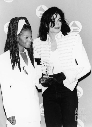 Michael Jackson and Janet Jackson - 1993 Stretched Canvas Print