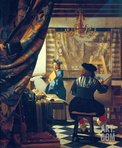 The Art of Painting (The Artist's Studio). About Um 1666/68 Stretched Canvas Print