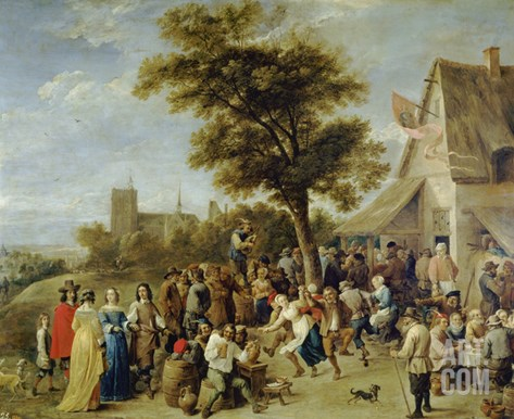 Peasants Merry-Making (Village Festival), 1637 Stretched Canvas Print