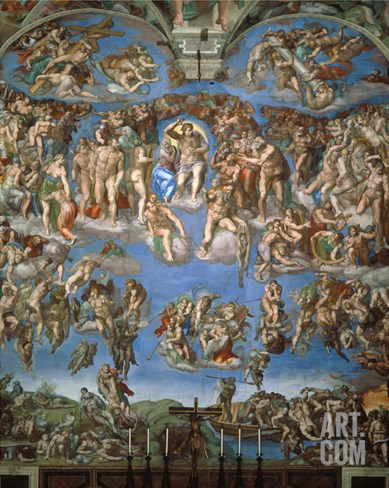 The Last Judgement, 1534-41 Stretched Canvas Print