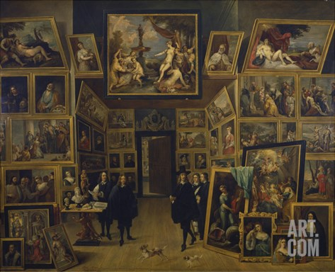 Archduke Leopold Wilhelm in His Picture Gallery in Brussels, about 1647 Stretched Canvas Print