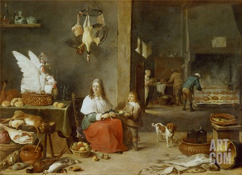 Kitchen Interior, 1644 Stretched Canvas Print