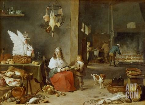 Kitchen Interior, 1644 Stretched Canvas Print