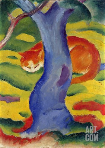Cat Behind a Tree, 1910/11 Stretched Canvas Print