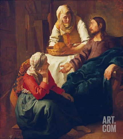 Christ in the Home of Martha and Mary, about 1654 Stretched Canvas Print