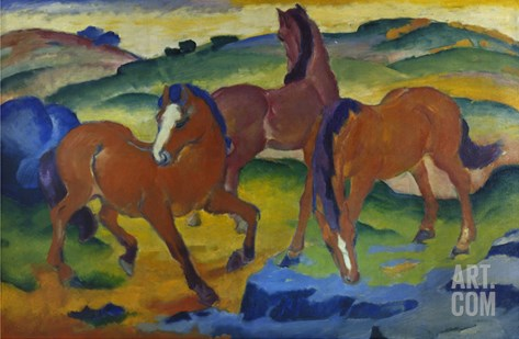 Red Horses (Grazing Horses Iv.), 1911 Stretched Canvas Print