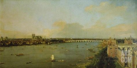 View of London with Thames, 1746/1747 Stretched Canvas Print