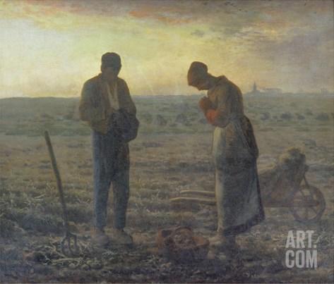 Evening Prayer (L'Angélus), 1857/59 Stretched Canvas Print