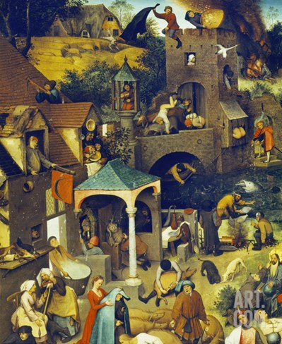 Netherlandish Proverbs (Detail), 1559 Stretched Canvas Print