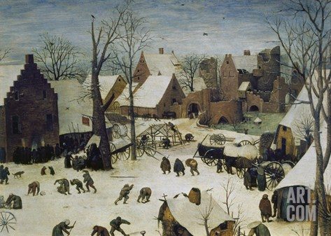 The Census at Bethlehem, 1566. Detail Upper Right Stretched Canvas Print